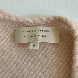Sézane Braid Detail V-Neck Sweater Pale Pink M